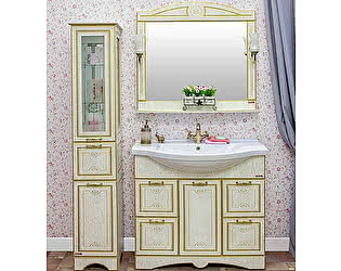Купить готовую ванную комнату Sanflor Адель 100 белая, патина золото