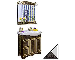 Мебель для ванной Sanflor Адель 82 венге, патина серебро, L