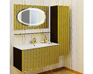 Мебель для ванной Sanflor Белла 100 шоколадный, патина золото