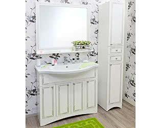 Мебель для ванной Sanflor Элен 100 белая, патина серебро