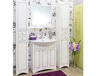 Мебель для ванной Sanflor Элен 75 белая, патина серебро