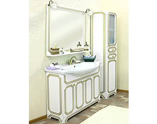 Мебель для ванной Sanflor Каир 100 белая, золотая патина