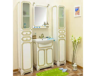 Мебель для ванной Sanflor Каир 60 белая, золотая патина