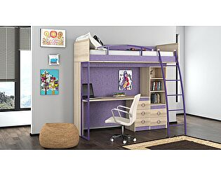 Кровать-чердак с рабочей зоной «Индиго» №9 ГН-145.009