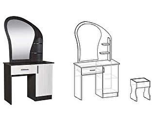 Стол макияжный МебельМаркет с банкеткой, зеркалом и ящиком