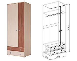 Шкаф Союз-Мебель Евро  №4 2х (слива валлис) SL
