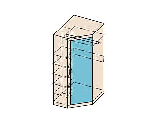 Шкаф угловой с зеркалом Заречье Ника, мод.Н7