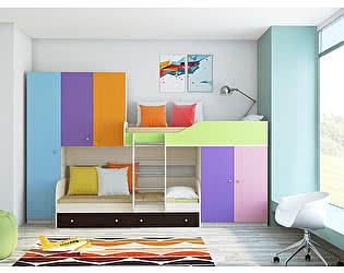 Купить кровать РВ Мебель Лео двухъяруснаярв с разноцветными фасадами