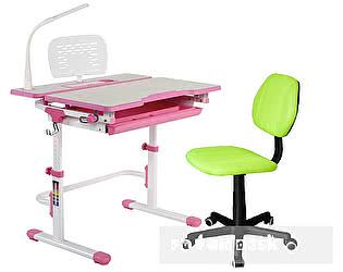 Купить стол FunDesk Lavoro L Pink + кресло LST4 RD-GY, лампа L1 и подставка SS5