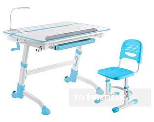 Купить стол FunDesk Volare Blue, стул SST3 Blue, барьер SS7, лампа L5