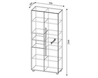 Купить шкаф SV-мебель Алекс-1 комбинированный (клен / титан)
