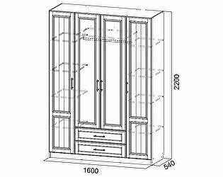 Купить шкаф SV-мебель четырехстворчатый Прованс
