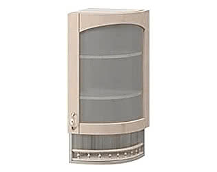 Шкаф торцевой со стеклом правый Боровичи Трапеза массив люкс, МВ-30В
