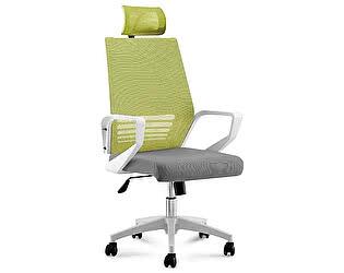 Купить кресло Норден Эрго зеленая сетка, серая ткань,белый пластик