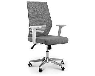 Купить кресло Норден Престиж LB серая сетка,серая ткань, белый пластик