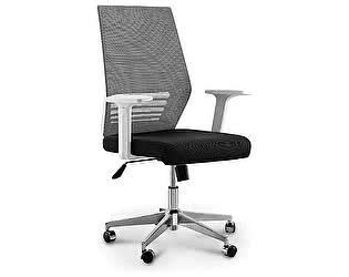 Купить кресло Норден Престиж LB серая сетка,черная ткань, белый пластик