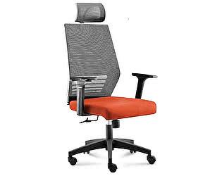 Купить кресло Норден Престиж black серая сетка,оранжевая ткань,черный пластик