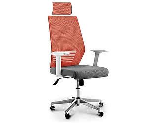 Купить кресло Норден Престиж оранжевая сетка, серая ткань,белый пластик