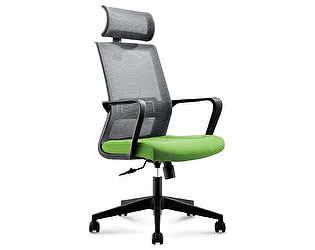 Купить кресло Норден Интер серая сетка,зеленая ткань,черный пластик