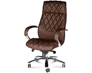 Купить кресло Норден Бонд сталь, хром, коричневая экокожа