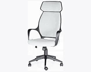 Купить кресло Норден Поло черный пластик, серая ткань, серая строчка