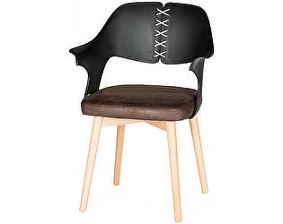 Купить стул Норден Cool черная спинка коричневая, экокожа белый шнур
