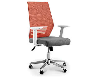 Купить кресло Норден Престиж LB оранжевая сетка,серая ткань,белый пластик