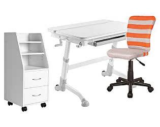 Комплект FunDesk парта Volare Grey + кресло LST9 Orange + тумба SS15