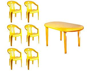 Купить  комплект садовой мебели Стандарт Пластик Набор пластиковой мебели Стол овальный (1400х800х710) мм + Кресло №5 Комфорт-1 (5
