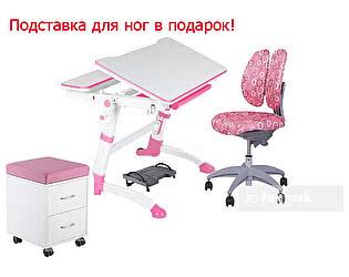 Парта FunDesk Volare Pink + стул SST9 Pink + тумба SS15W Pink