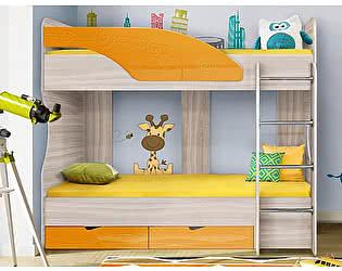 Двухъярусная кровать Диал Бриз-5 80х190 (манго волна)