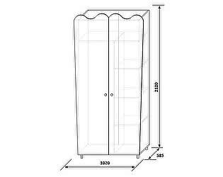 Шкаф для одежды 2Д (без зеркал) КМК Волшебница, 0385.2