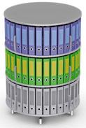 Вращающийся стеллаж для папок Moll MultiFile диаметр 80 см, 3 этажа