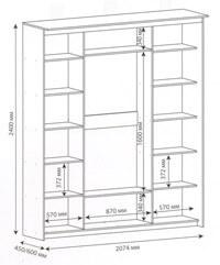 Схема шкафа-купе шириной 2074 мм.