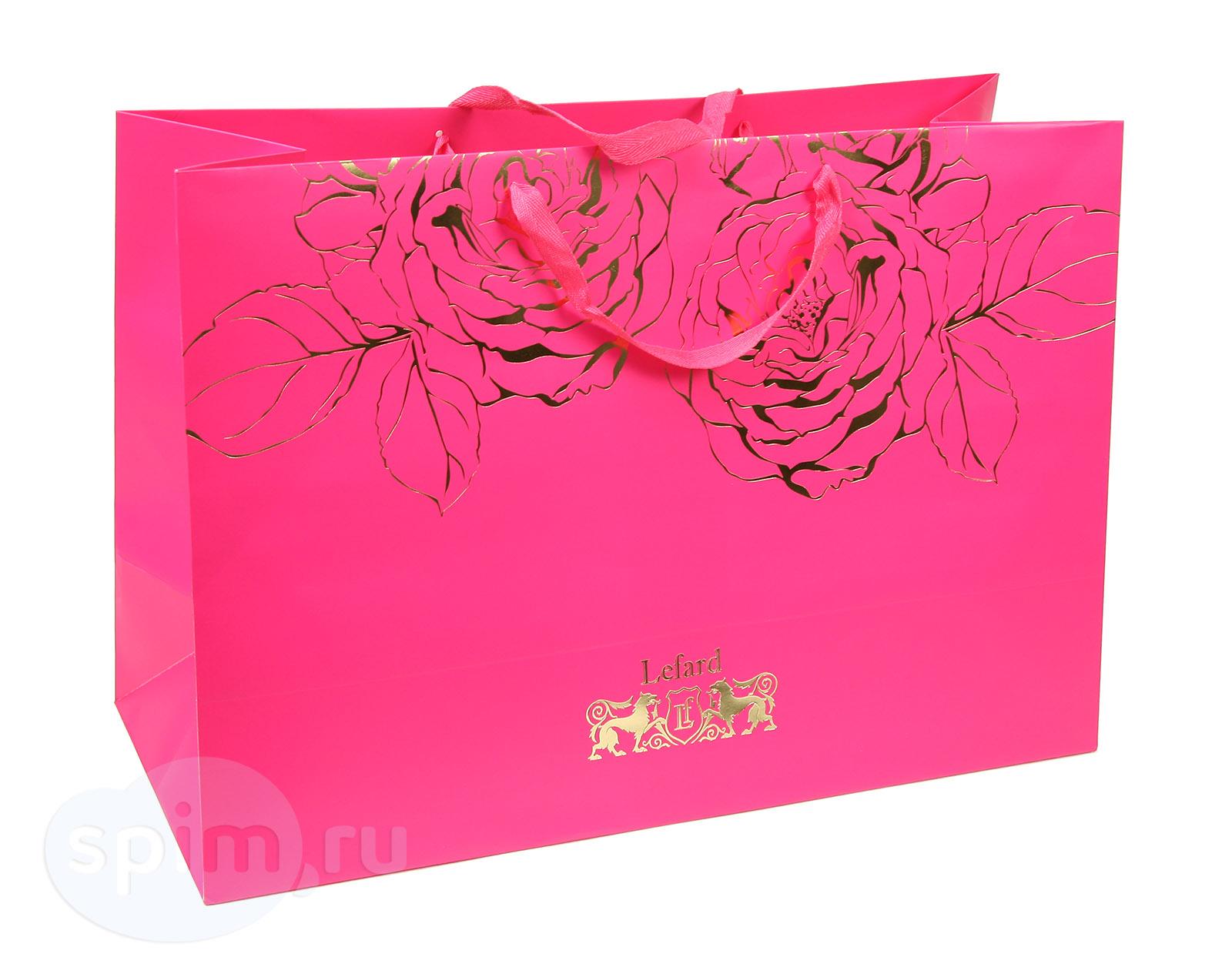 Широкий подарочный пакет Lefard, розовый - Detskoye-Postelnoe.Ru