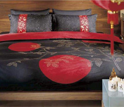 Сатиновое постельное белье TAC Indocine black