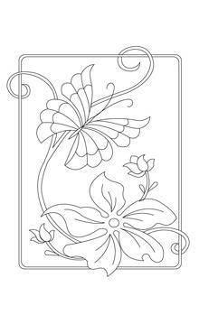 Художественная стежка Бабочка на лилии