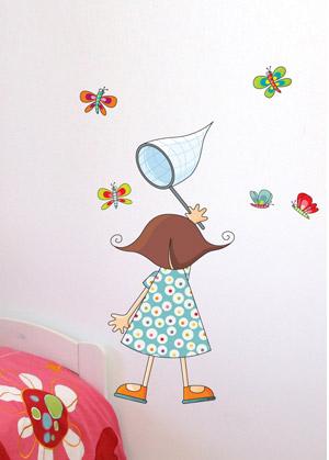 Настенный стикер Урбаника Девочка с сачком