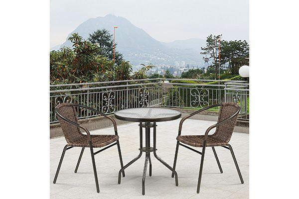 Комплект плетеной мебели Афина-мебель Асоль-1C TLH-037B-R3/TLH060-D60 Brown 2Pcs