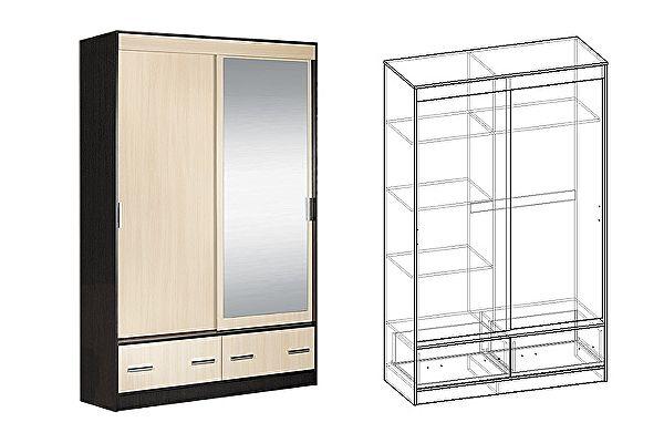 Зеркальный шкаф-купе Мебель Маркет Светлана 2-х створчатый с ящиками 1350 с 1 зеркалом