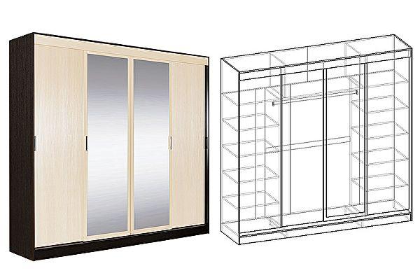 Четырехдверный шкаф-купе Мебель Маркет Светлана 4-х створчатый  с 2 зеркалами (Венге/Дуб молочный)