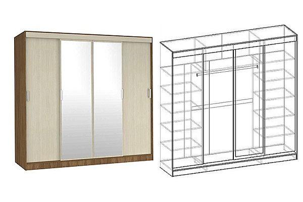 Четырехдверный шкаф-купе Мебель Маркет Светлана 4-х створчатый с 2 зеркалами