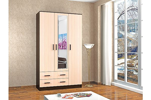 Шкаф ТЭКС Лагуна комбинированный с зеркалом