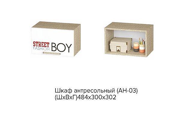Шкаф антресольный BTS Сенди АН-03 STREET BOY