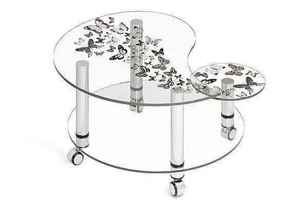 Стеклянный журнальный столик МСТ Махаон стеклянный