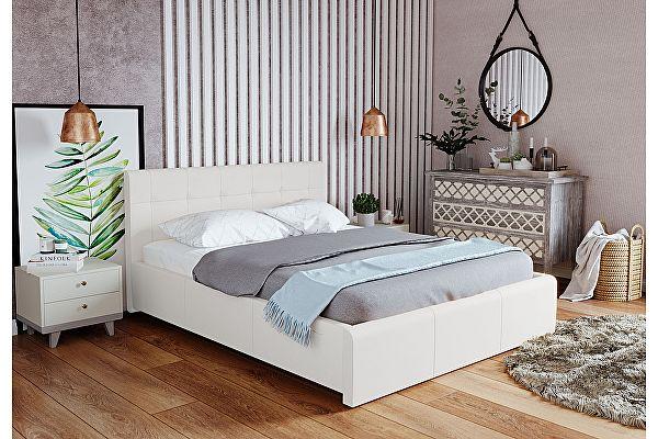 Кровать экокожа Арника Лаура Вайт 1600 с подъемным механизмом
