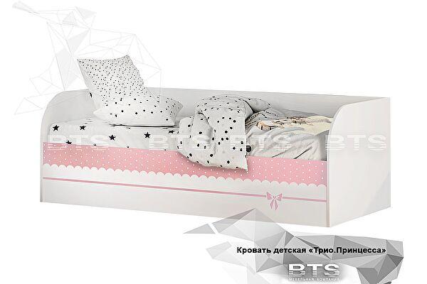 Кровать детская (с подъёмным механизмом) BTS Трио КРП-01, белый/принцесса