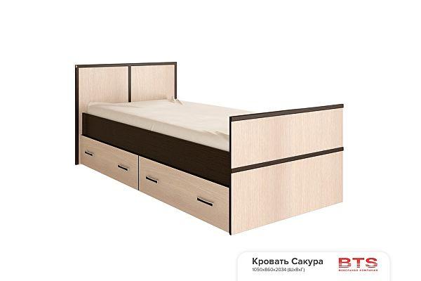 Кровать  BTS Сакура 90, с настилом ДСП, без матраса