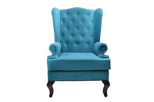 Каминное кресло DG-Home с ушами Велюр Бирюзовый