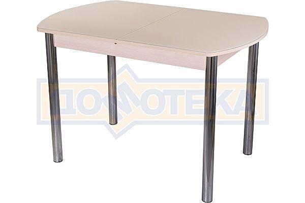 Обеденный стол со стеклом Домотека Танго ПО МД ст-КР 02 ,молочный дуб